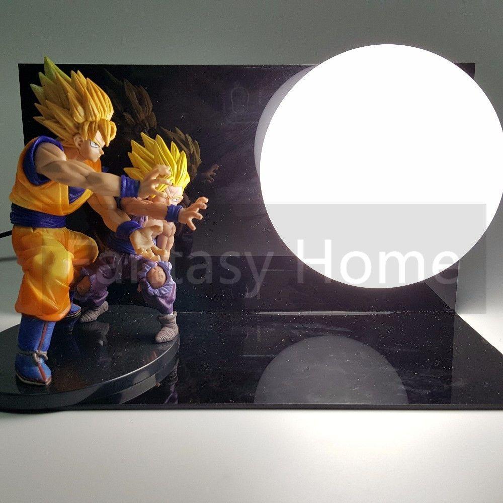 Dragon Ball Z Action Figure Son Goku Gohan Kamehameha DIY Display Toy Dragonball Z Son Gokou Dragon DBZ+Base +Bulb DIY34