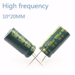 5 ~ 200 шт. хорошего качества, 35В, алюминиевая крышка, 25В 1000 мкФ 10*20 блок питания Высокочастотный с украшением в виде кристаллов электролитическ...