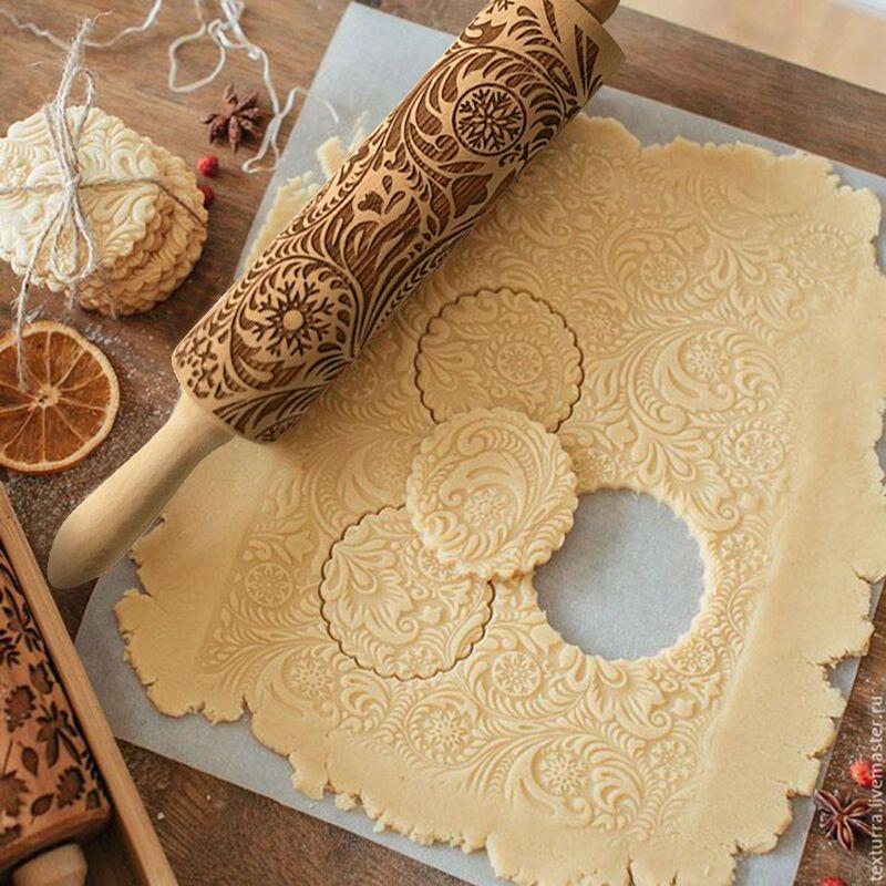 De noël Gaufrage Rouleau À Pâtisserie Cookies Biscuit Fondant Gâteau Pâte Gravé Rouleau Rennes Flocon De Neige