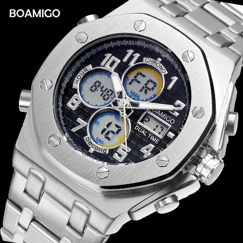 BOAMIGO brand watches men sports watches dual display digital watches quality stainless steel wristwatches 30m waterproof clock
