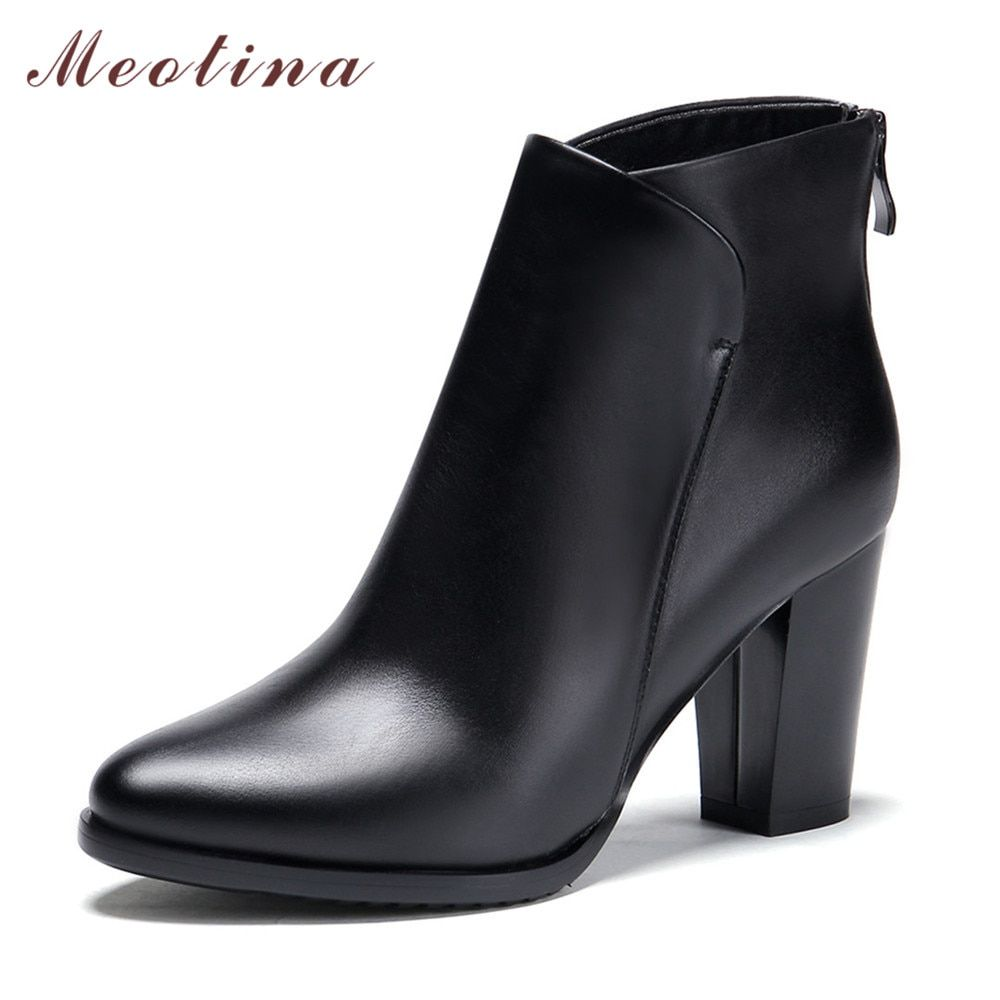 Meotina Genuine Leather Shoes Women Ankle Boots Autumn Thick <font><b>High</b></font> Heel Martin Boots Zip Winter Handmade Leather Shoes Boot Black