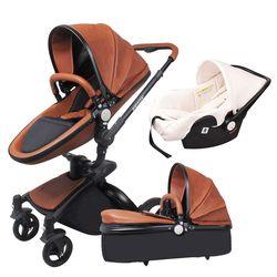 Babyfond En Cuir poussette de luxe nouveau-né poussette 3 en 1 pliant quatre roues bébé poussette bébé voiture poussette envoyer cadeaux gratuits