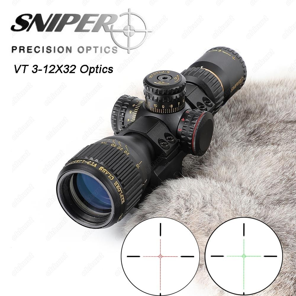 SNIPER VT 3-12X32 Hunting Compact Riflescope Tactical Optical Sights Red Green Illuminated with Wever Offset Rings Rifle Scope