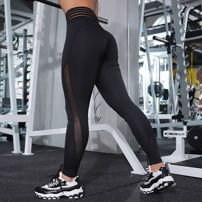 CHRLEISURE High Waisted leggings fitness feminina Heart solid polyester casual Pant Breathable stretch Mesh Legging Women