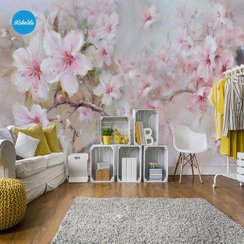 XCHELDA Custom 3D Wallpaper Design Oil Paint Peony Photo Kitchen Bedroom Living Room Wall Murals Papel De Parede Para Quarto