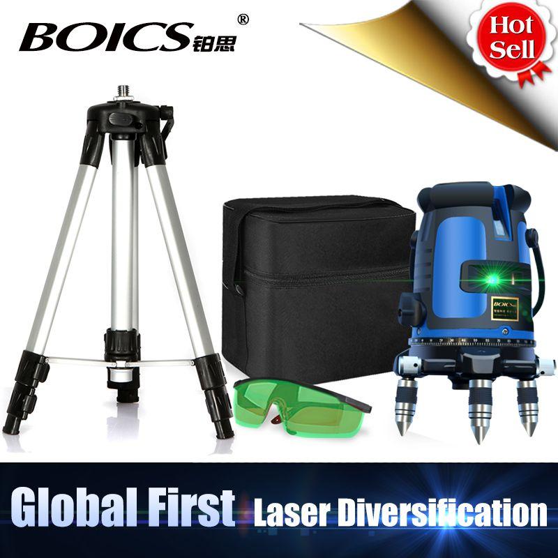 Livraison gratuite laser vert multifonction laser ligne croisée rotative auto-nivelante niveau laser vert 360 degrés 5 ligne 4V1H 6 Points