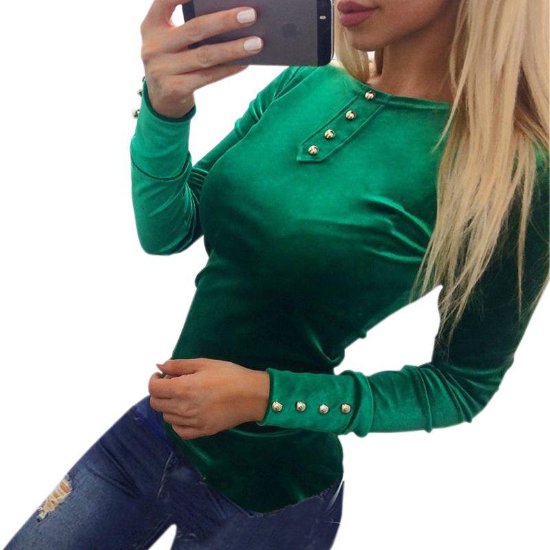Newly 2017 Velvet Blouses Shirts Women's Spring Autumn Shirts Tops Velvet Blusas Top Long Sleeve Solid Button Women Tops GV508