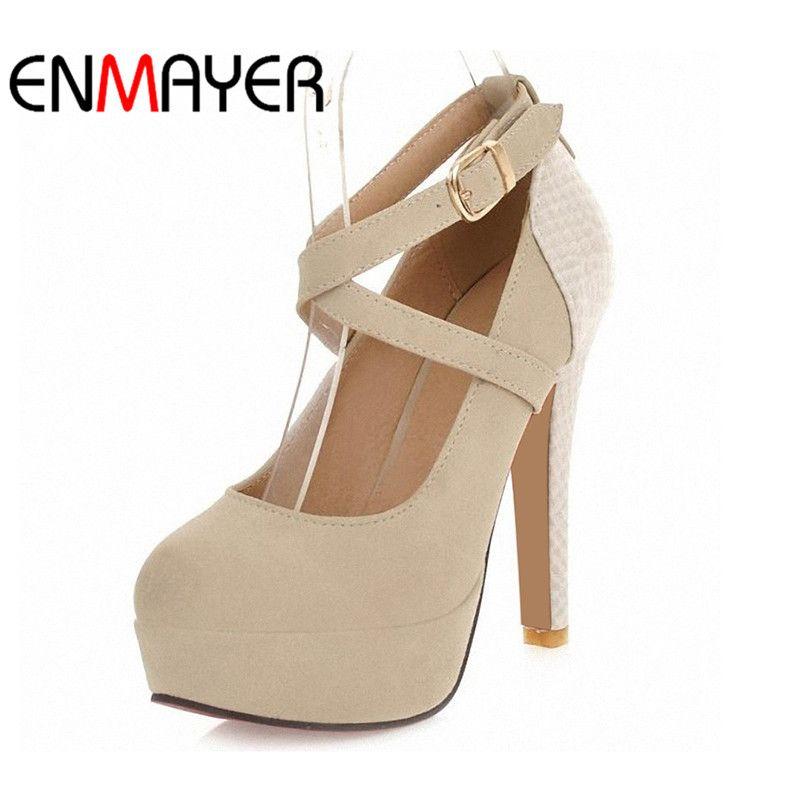 ENMAYER Fashion Platform Pumps Sexy High-heeled Shoes Heels Round Toe Platform Shoes Women's Wedding Prom Shoes Big Size 34-42