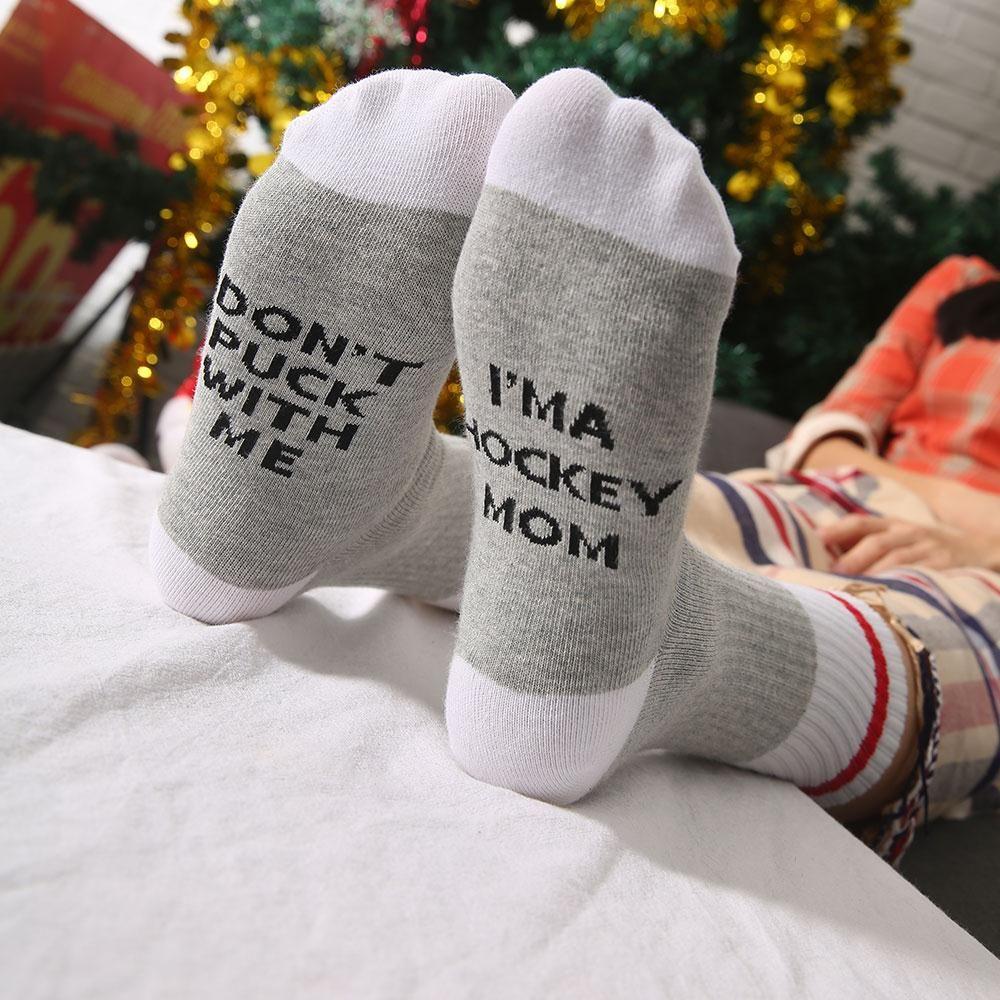 48 часов доставка 2018 Рождество Носки для девочек я мама не шайбу со мной письма печатаются Для женщин хлопок Цвет блок Носки для девочек