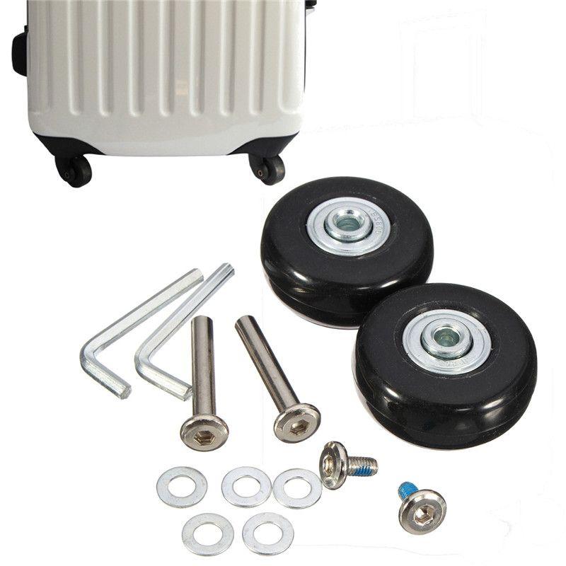 Osmond 1 paire 45x18mm bagages valise à roulettes roues de remplacement essieux Deluxe réparation caoutchouc voyage bagages roue noir avec vis