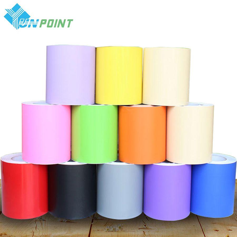 5M For Kidroom Vinyl Wall Stickers Solid Color Self adhesive Wallpaper Border Bathroom Waterproof Waist Lines PVC Wallpaper Roll