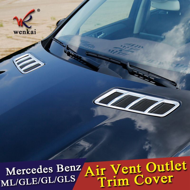 wenkai ABS Chrome Front Hood Air Vent Outlet Sticker Trim Cover for Mercedes Benz GL GLE GLE GLS ML Class X166 W166 Car Styling