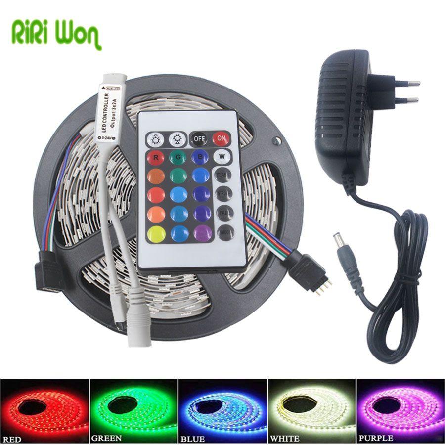 SMD RGB LED Strip LED Light 5m 10m 5050 2835 flexible LEDs Lighting 220V Tape Diode Ribbon Waterproof DC 12V power adapter set