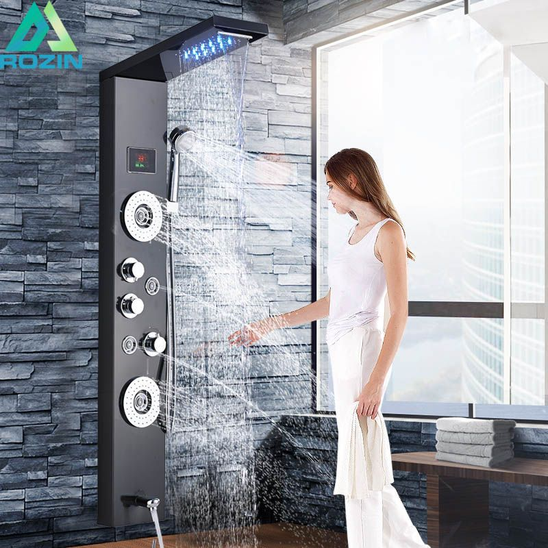 Black Waterfall Rain Shower Panel Faucet LED Light Bathroom Shower System Temperature Digital Screen Body Massage Jet Mixer Tap