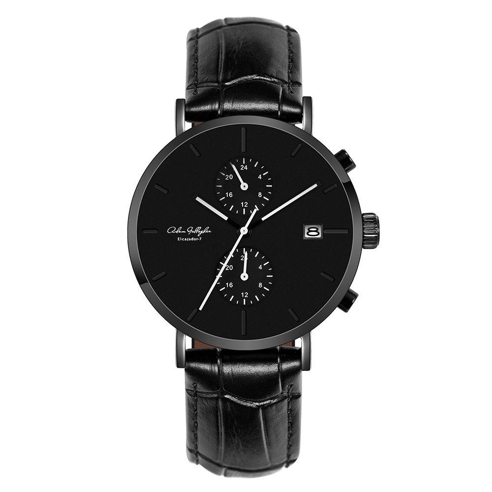 Men Watch Quartz Waterproof Wrist Watch Japan Movment Italian Slub Pattern Leather Strap Watch Arched Sapphire Glass