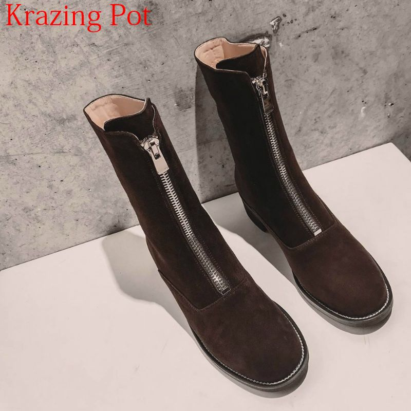 2018 Superstar Cow Suede Retro Med Heels Zipper Motorcycle Boots Streetwear Luxury Brand Runway Winter Ankle Boots for Women L31