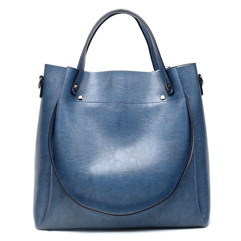 Retro Boston Frauen Echtem Leder Handtaschen Große Kapazität Öl Wachs Kuh Leder Tragetaschen Damen Schulter Messenger Taschen Neue C874