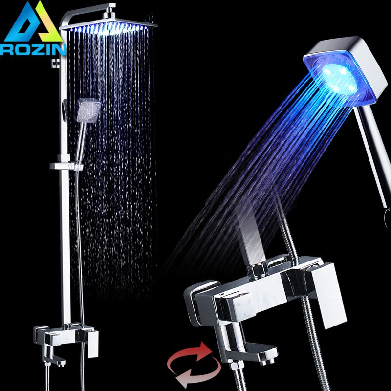 LED Changing Color Shower System Chrome LED Light Shower Faucet set RGB Handshower Rotate Spout Bath Shower Mixer Tap
