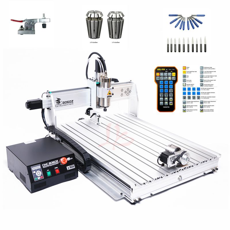 4 AXIS mini cnc router 8060 2200W spindle metal engraving carving machine with limit switch and remote free cutter er16 collet