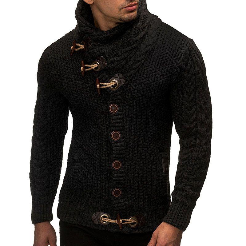 Sweater Cardigan Men 2018 Male Brand Casual Slim Sweaters Men Horns Buckle Thick Hedging Turtleneck Men'S Sweater XXL