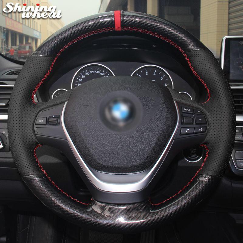 Shining wheat Black Genuine Leather PU Carbon Fiber Steering Wheel Cover for BMW 316i 320i 328i 320d F20 F45 F30 F31 F34 F32 F33
