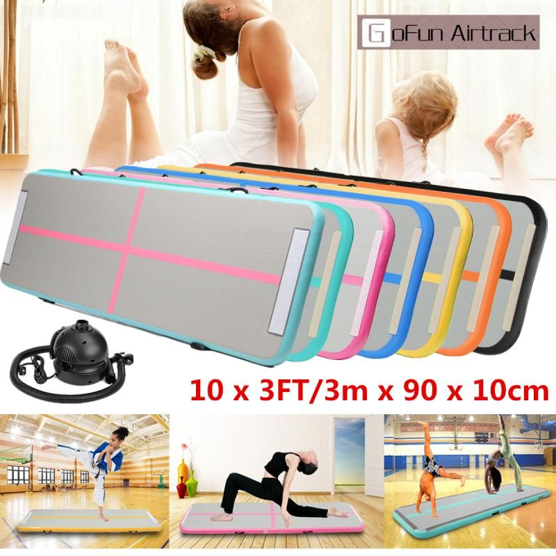 Gofun 90cm*3m*10cm Gym Air Track Floor Pad Home Gymnastics Tumbling Inflatable Rolling Mat With 110V pump