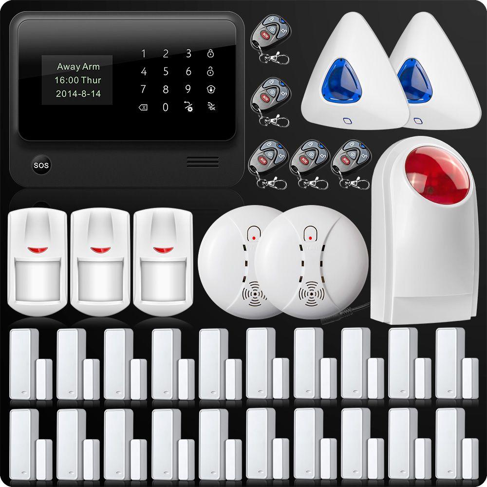 DHL/EMS WiFi GSM GPRS SMS Wireless Home Security Alarm System Remote Control Wireless Flash Siren Outdoor Flash Smoke Sensor
