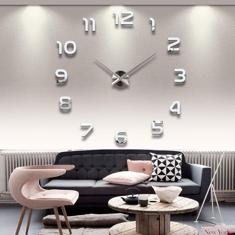 2019 Free Shipping New Clock Watch Wall Clocks Horloge 3d Diy Acrylic Mirror Stickers Home Decoration Living Room Quartz Needle