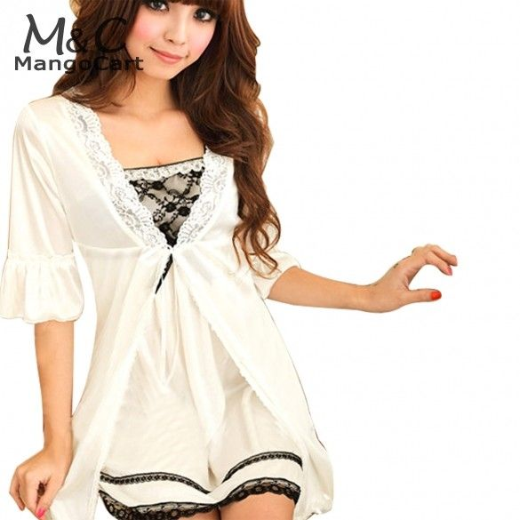 Sexy Robe Women vestido Twinset Lace Pajama Strap Sleep Night Robe Nightwear Sleepwear White Pajamas