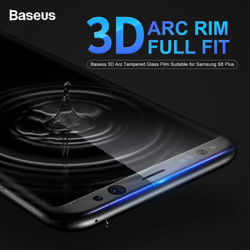 Protecteur d'écran Baseus pour Samsung Galaxy S8 Film de verre Arc 3D pour Samsung Galaxy S8 Plus Film de verre trempé entièrement couvert