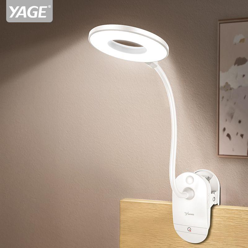 YAGE 18650 LED tactile interrupteur marche/arrêt 3 Modes Clip lampe de bureau 7000 K Protection des yeux bureau lumière gradateur Rechargeable USB LED lampe de Table
