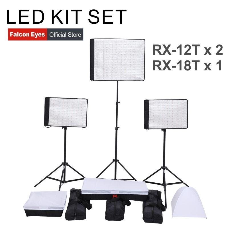 FalconEyes 34 W/62 W 5600K Dimmbar Flexible Tragbare Kontinuierliche LED Video Film Studio Fotografische Licht RX-12T/ RX-18T kit set