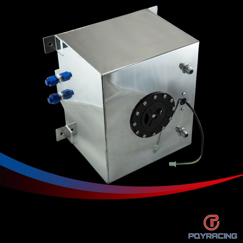 PQY RACING- 30L Aluminium Fuel Surge tank mirror polish Fuel cell with cap/foam inside, with sensor PQY-TK68
