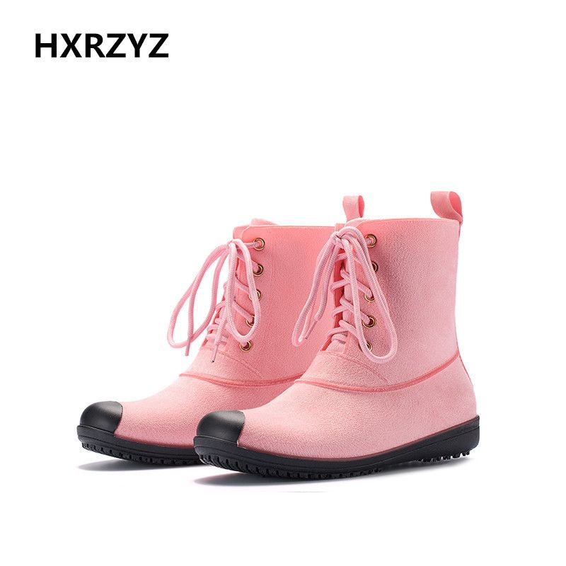 HXRZYZ Europa und die Vereinigten Staaten mode dame kurze rohr regen stiefel Wasserdichte rutschfeste gummi stiefel wildleder schuhe frauen f1788