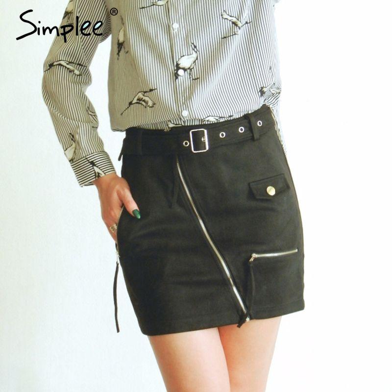 Simplee Suede zipper mini skirt women Streetwear motorcycle belt pencil skirt Fashion elegant winter short skirt female 2017