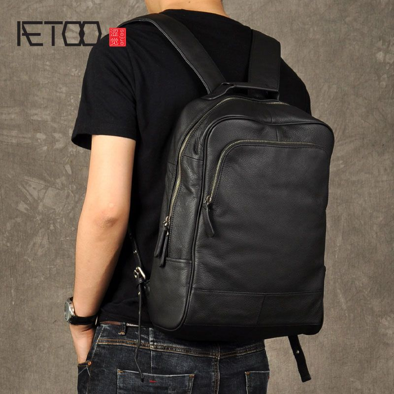 AETOO Original genuine Leather Retro Men backpack real cow Leather Large Capacity backpack men laptop backpack business bags
