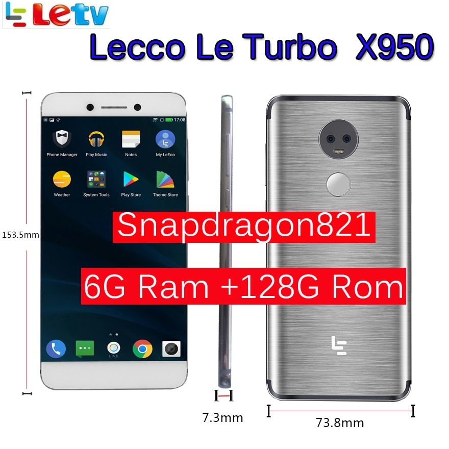 Original Letv LeEco RAM 6GB ROM 128GB le Turbo X950 Dolby with samsung screen 4G Cell Phone 5.5