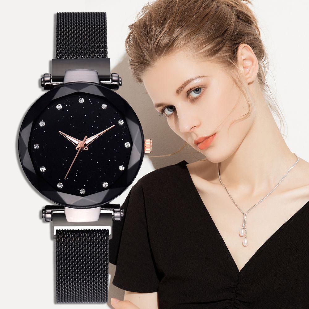 Dropshipping Luxury Magnet Buckle Starry Bracelet Quartz Watches Women Fashion Black Design Clock Ladies Wrist Watch 2018