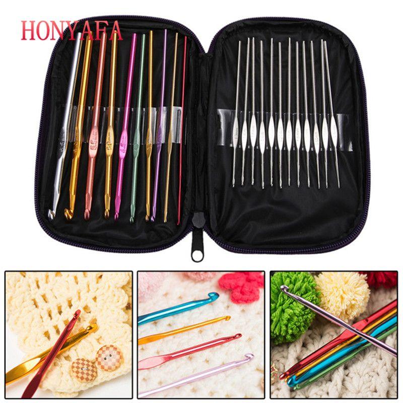 22Pcs/set Multicolour Aluminum Crochet Hook Knitting Kit Needles Handle Knit Set Weave Craft Yarn Stitches Weaving tools