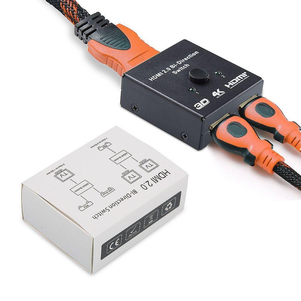 1x2 HDMI Bidirektionale Switcher 1 Eingang 2 Ausgang Unterstützung HDMI 2,0 HDCP 2,2 UHD 4 Karat 2x1 HDMI Switch Box Für Apple TV, PS4 & HDTV