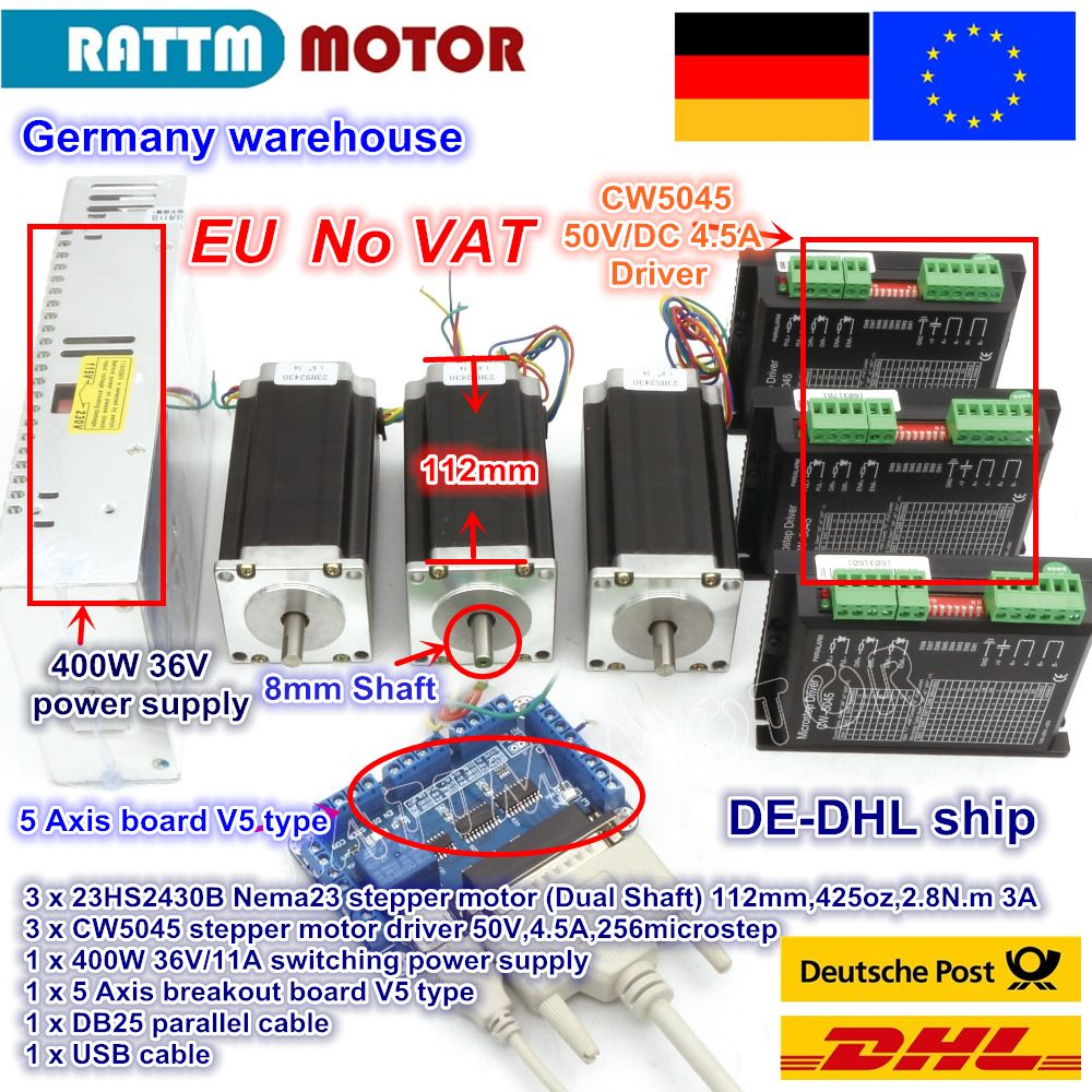DE ship / free VAT 3 Axis Nema23 425Oz-in Dual shaft Stepper Motor + 256 Microstep Driver CNC engraving machine