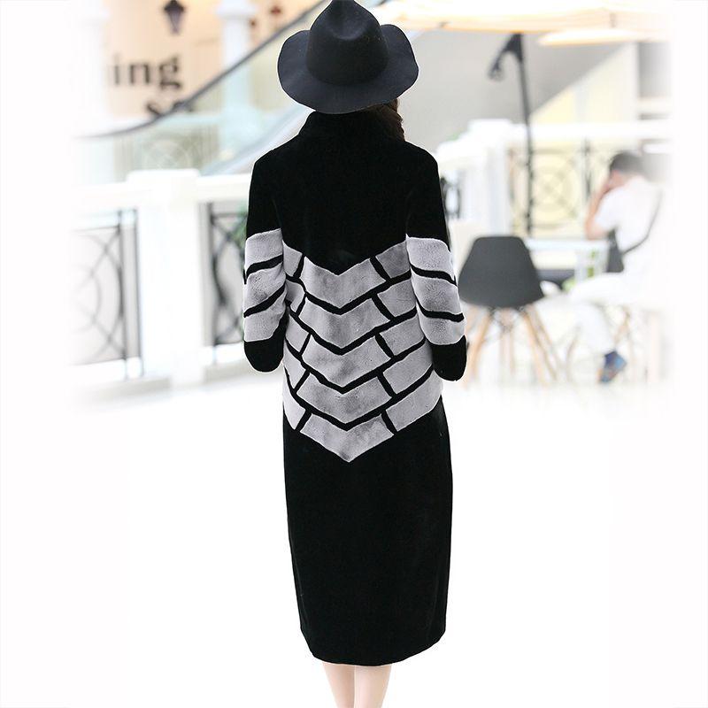 Nerazzurri Brand Long Faux Fur Coat Women 2018 Winter Patchwork Fur Clothes Thick Warm Overcoat Plus Size Outerwear 5XL 6XL 7XL