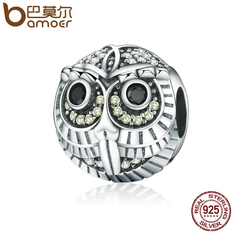 BAMOER High Quality Authentic 925 Sterling Silver Lovely Vivid Owl Animal Beads fit Charm Bracelets for Women Jewelry SCC262