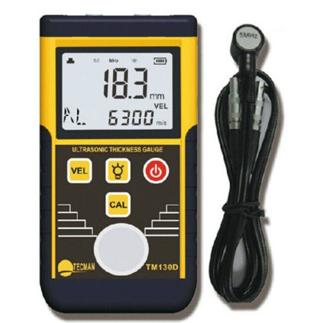Ultrasonic Thickness Gauge Sound Velocity Measuring Range 1.2~220mm For Steel Plate Copper Plate Glass PVC Pipe Thickness TM130D