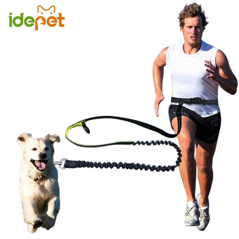 Elastic Waist Dog Leash Running Jogging Dog Sport Product Adjustable Nylon Dog Leash With Reflective Strip Pet Accessories 10S2