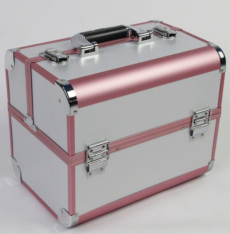 32*22*26cm Professional Aluminum Cosmetic Case Makeup Storage Box With Excellent Workmanship Makeup Bag Organizer for Cosmetics