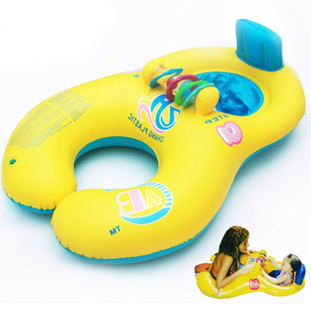Swimming Accessories Swimming Pool Accessory Baby float Mother Child Inflatable Ring Baby Float Double Child Inflatable Wheels