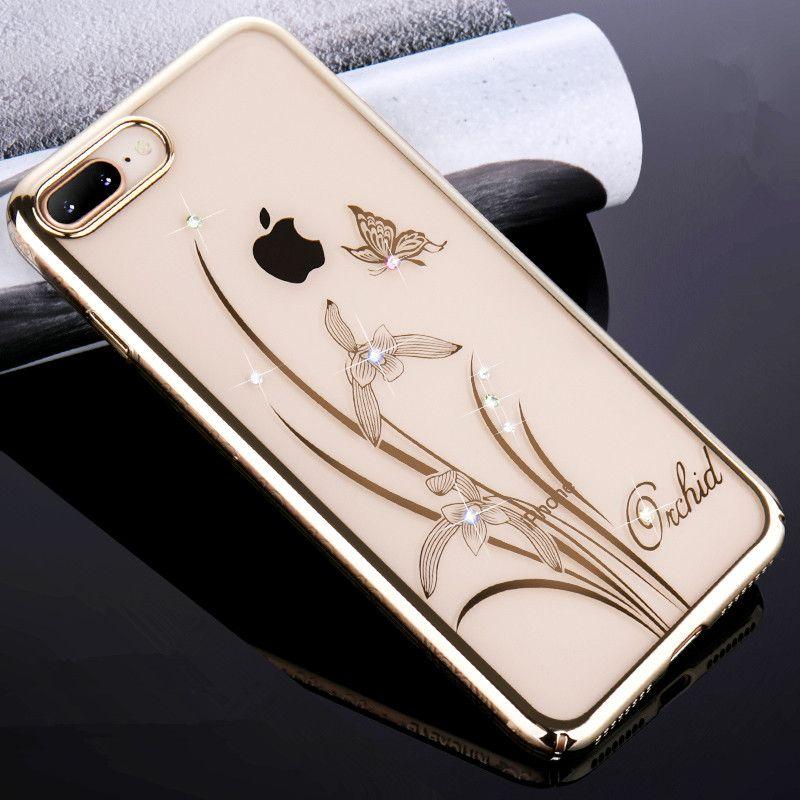 KINGXBAR pour iPhone X 6 6 s 7 8 Plus Cas Cristaux de Swarovski Diamant Fleur Transparent Cas pour l'iphone 8 7 plus la Couverture Capa