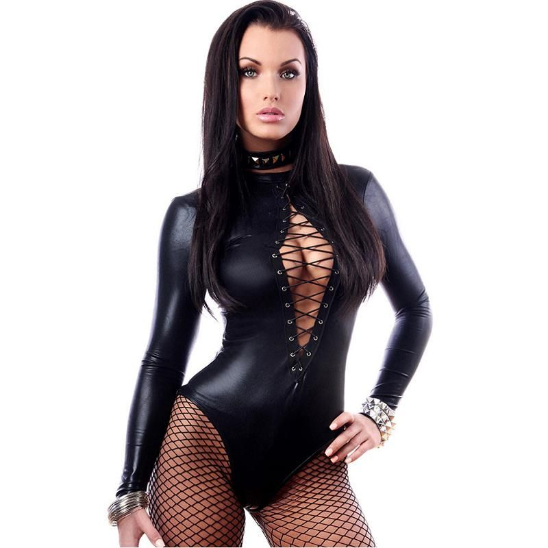 2016 Mujeres Negro Faux Leather Lingerie Body Erótico Catsuit De Látex Catwomen Sexy Teddies Negro Wet Look de Manga Larga Body