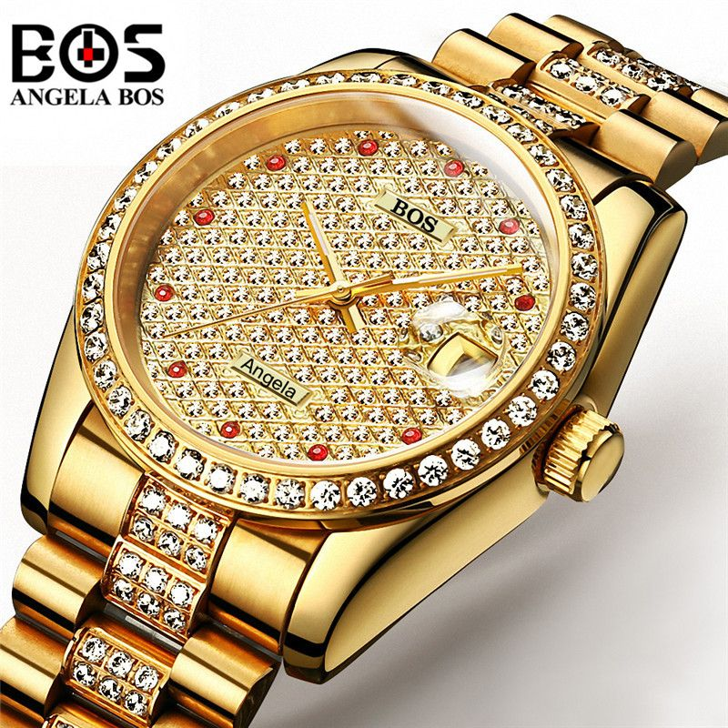 Relogio Masculino ANGELA BOS Brand Luxury Watch Men Waterproof Gold Silver Diamond Automatic Mechanical Wrist Watch Montre Homme